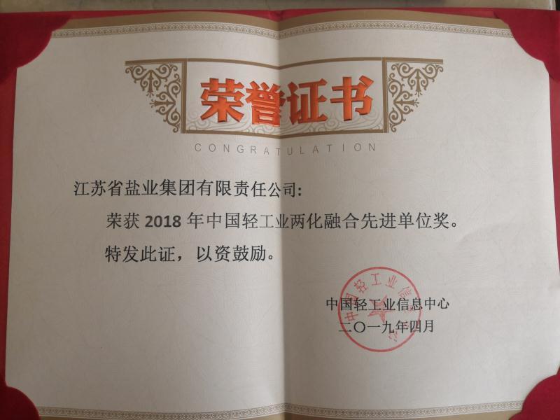 2018年中国轻工业两化融合先进单位